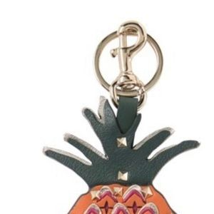 Valentino Leather Studded Pineapple Keychain
